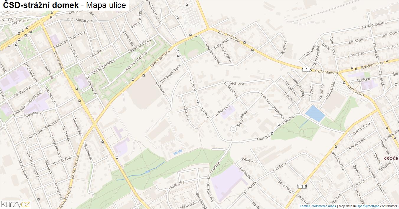 ČSD-strážní domek - mapa ulice