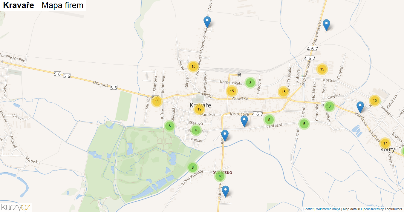 Kravaře - mapa firem