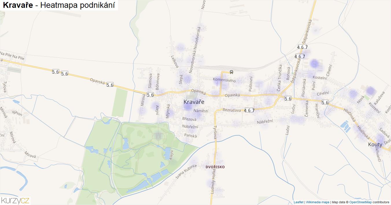 Kravaře - mapa podnikání