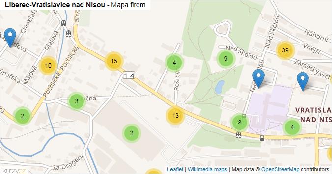 Mapa Liberec-Vratislavice nad Nisou - Firmy v městské části.