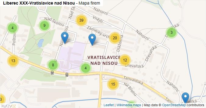 Mapa Liberec XXX-Vratislavice nad Nisou - Firmy v části obce.