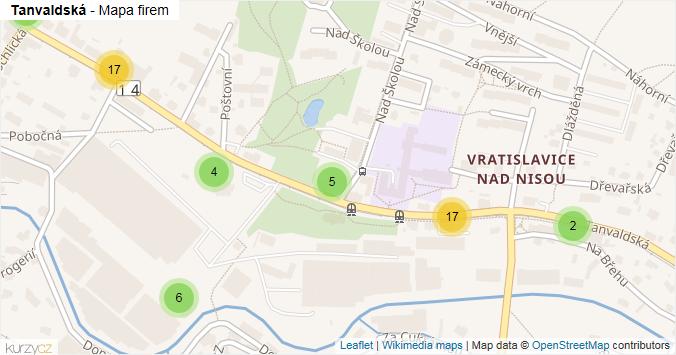 Mapa Tanvaldská - Firmy v ulici.