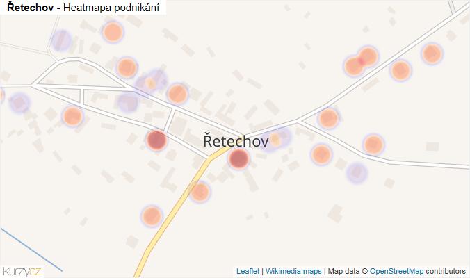 Mapa Řetechov - Firmy v části obce.
