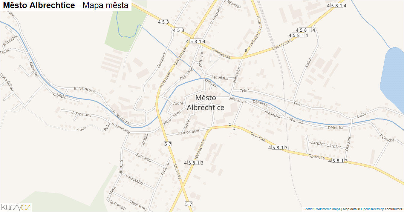 Město Albrechtice - mapa města