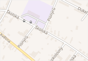 Školská v obci Milovice - mapa ulice