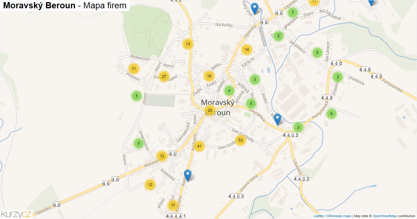 Moravský Beroun - mapa firem