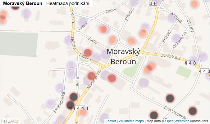 Mapa Moravský Beroun - Firmy v části obce.