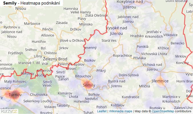 Mapa Semily - Firmy v okrese.