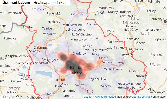 Mapa Ústí nad Labem - Firmy v okrese.
