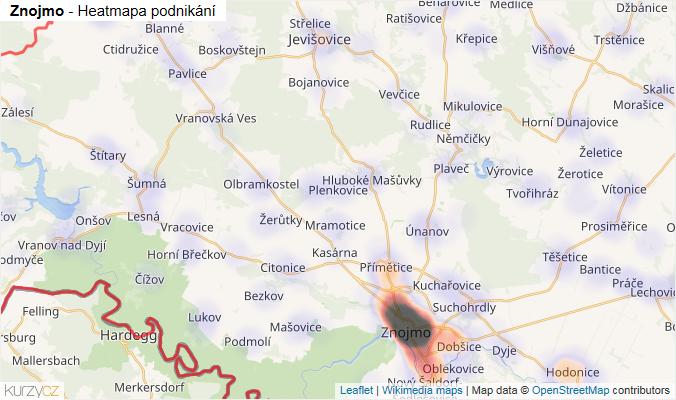 Mapa Znojmo - Firmy v okrese.