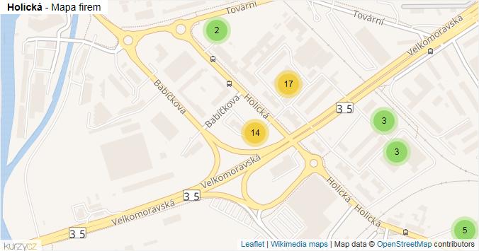 Mapa Holická - Firmy v ulici.