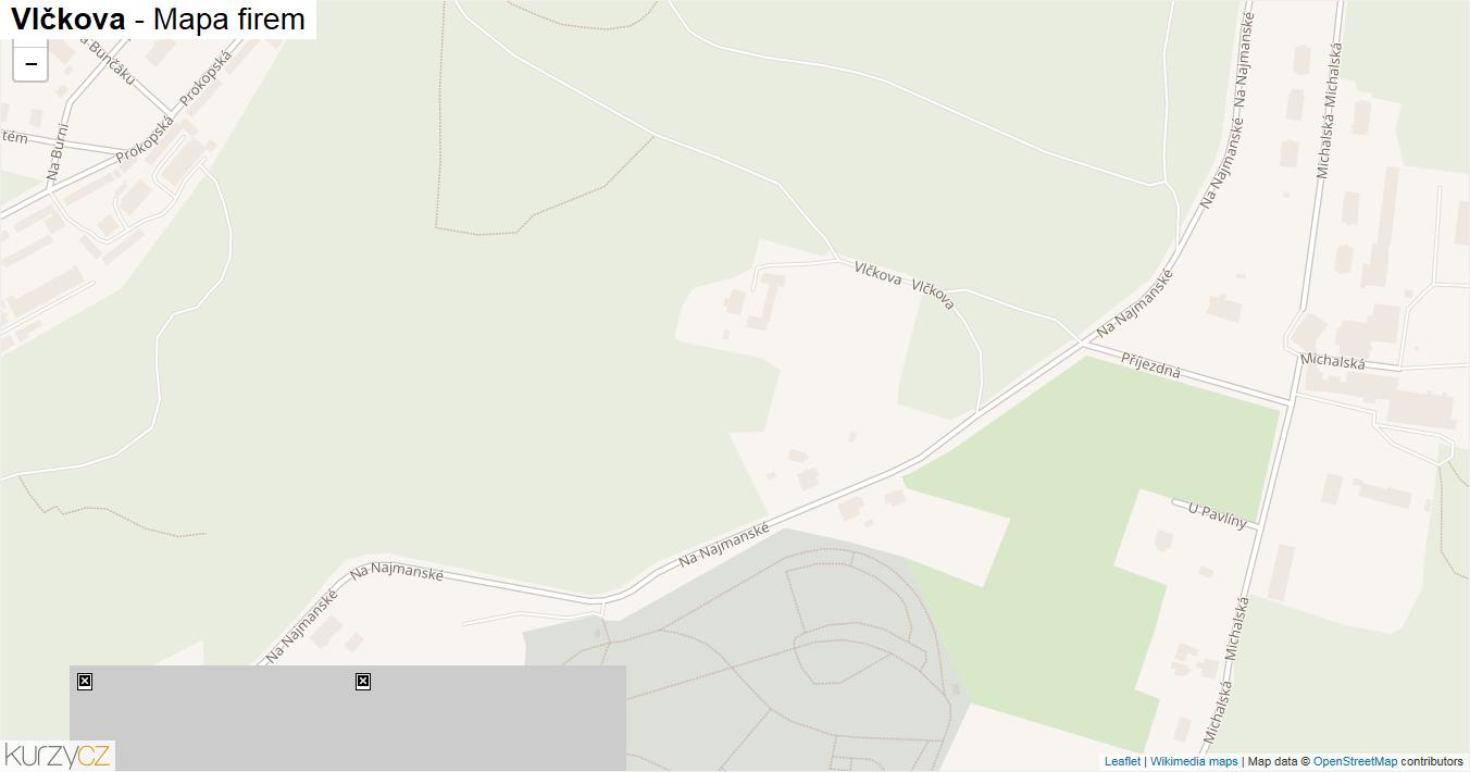 Vlčkova - mapa firem