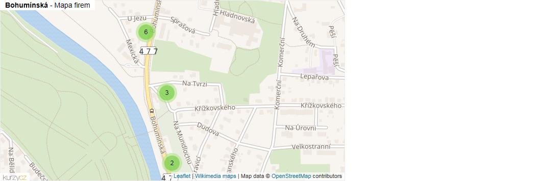 Mapa Bohumínská - Firmy v ulici.