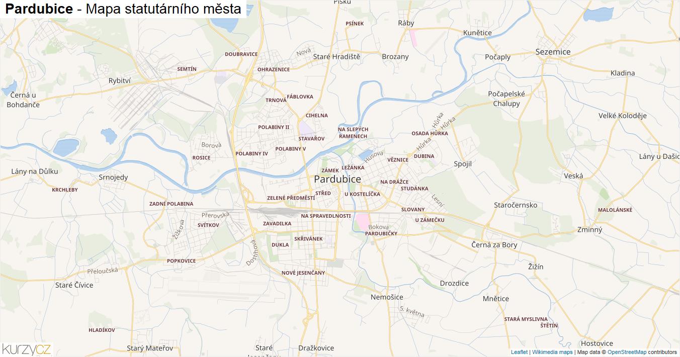 Pardubice - mapa statutárního města