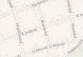 Branecká v obci Pardubice - mapa ulice