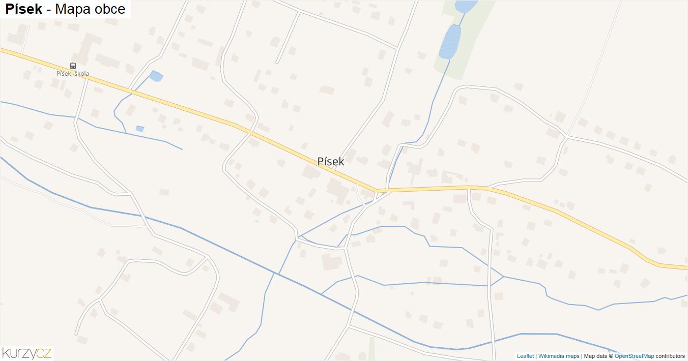 Písek - mapa obce