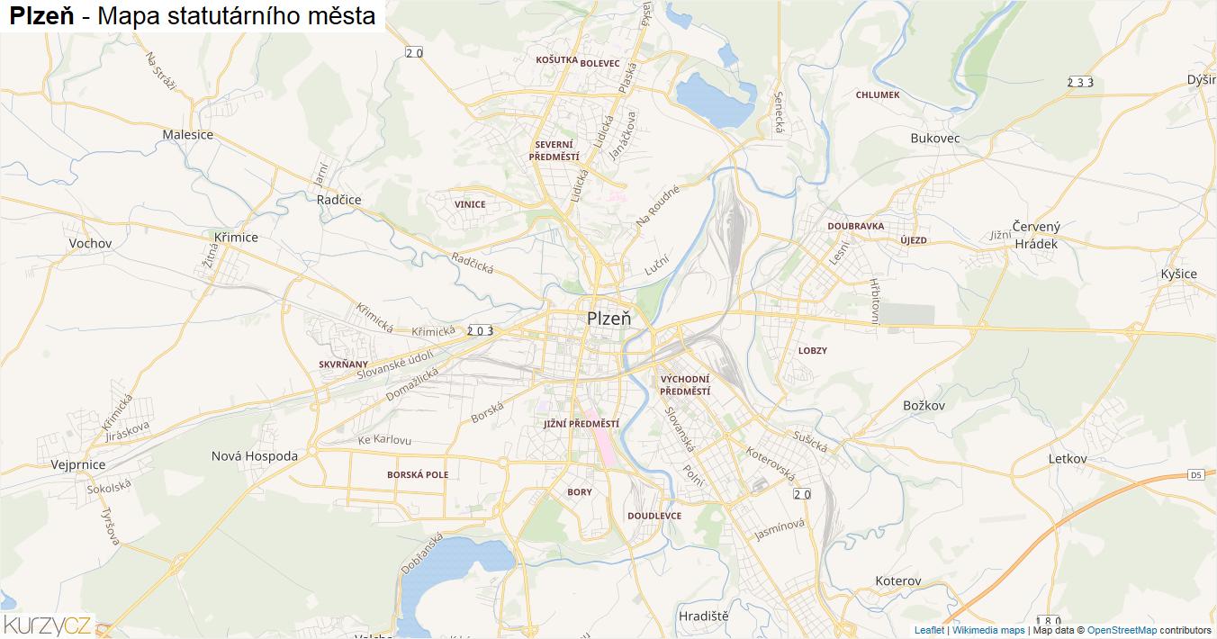Plzeň - mapa statutárního města