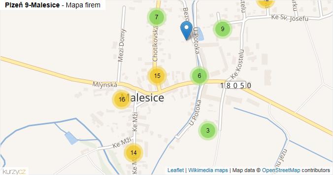 Mapa Plzeň 9-Malesice - Firmy v městské části.