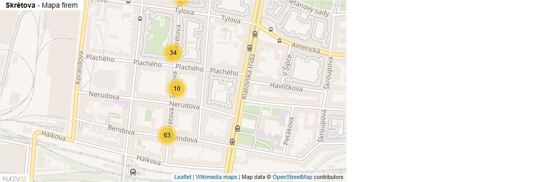 Mapa Skrétova - Firmy v ulici.