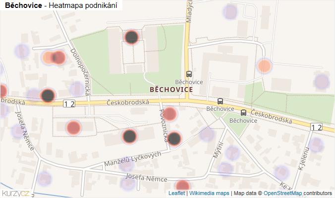 Mapa Běchovice - Firmy v části obce.