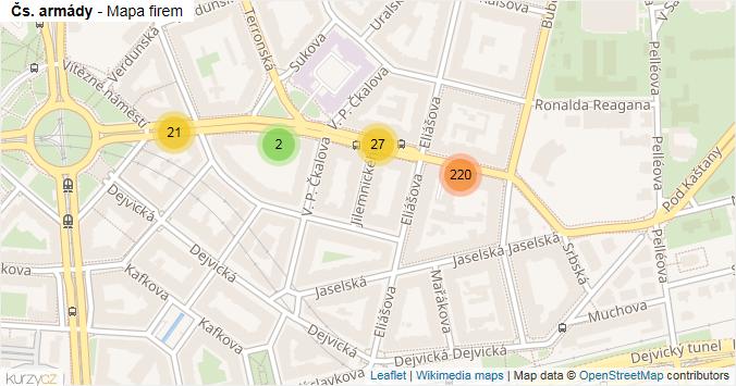Mapa Čs. armády - Firmy v ulici.