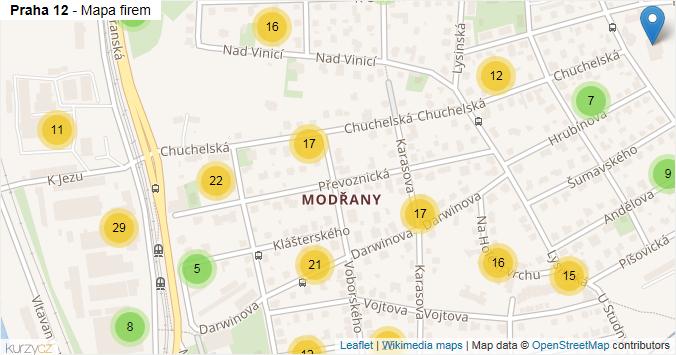 Mapa Praha 12 - Firmy v městské části.