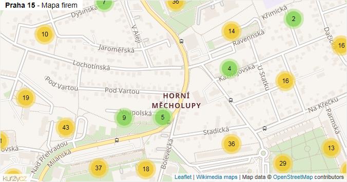 Mapa Praha 15 - Firmy v městské části.