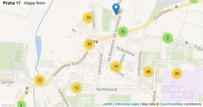 Mapa Praha 17 - Firmy v městské části.