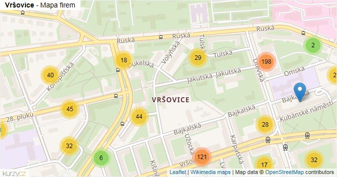 Mapa Vršovice - Firmy v části obce.