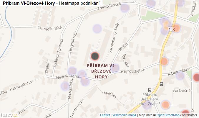 Mapa Příbram VI-Březové Hory - Firmy v části obce.
