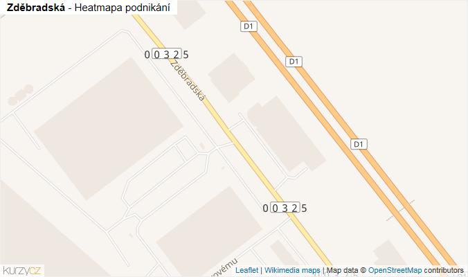 Mapa Zděbradská - Firmy v ulici.