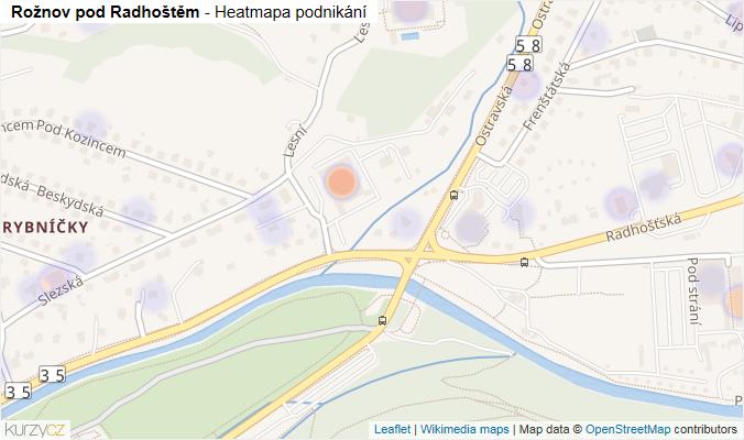 Mapa Rožnov pod Radhoštěm - Firmy v obci.