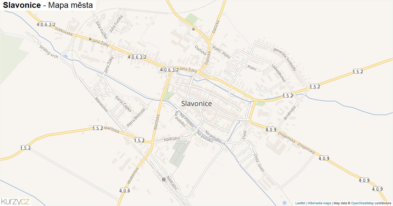 Slavonice - mapa města