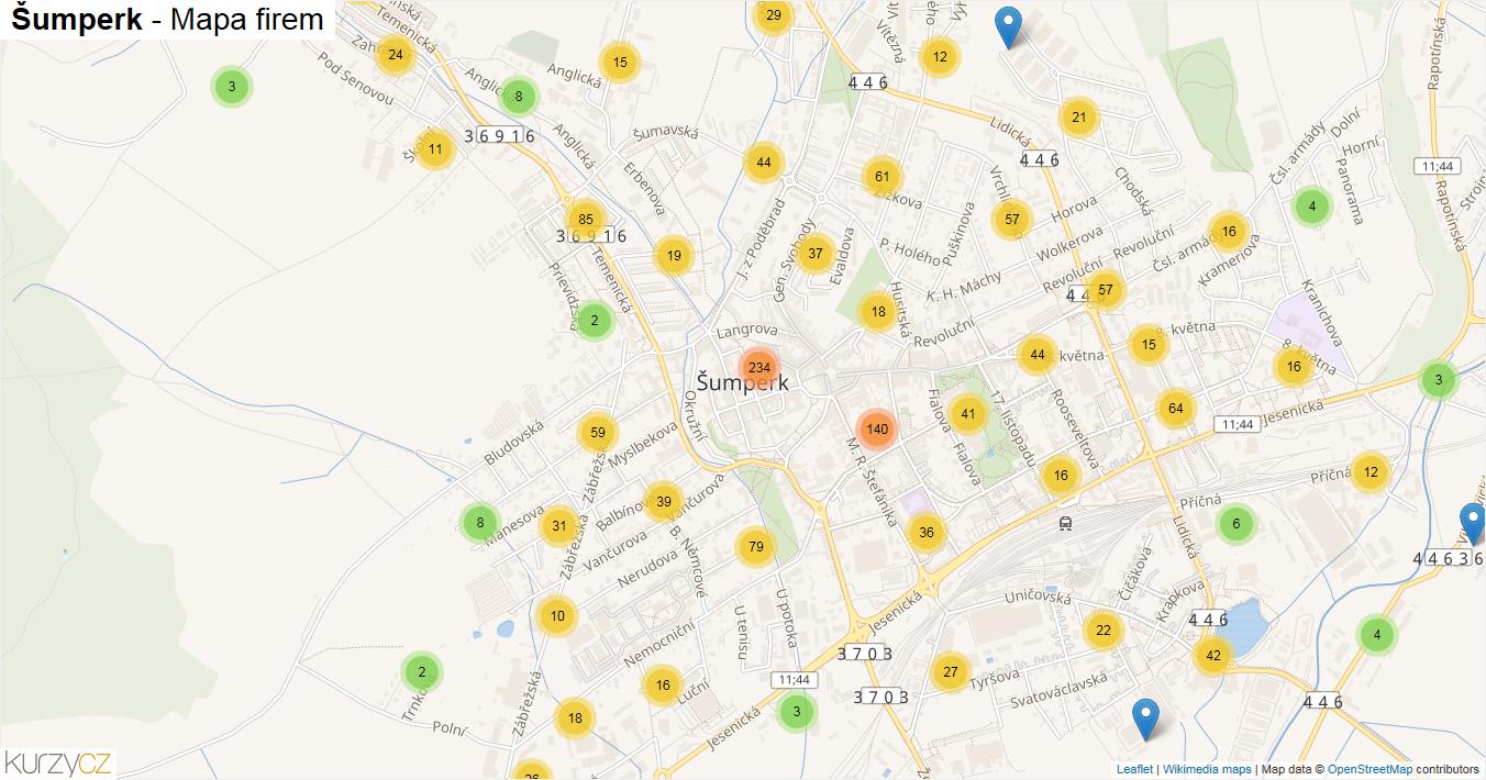 Šumperk - mapa firem