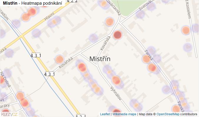 Mapa Mistřín - Firmy v části obce.