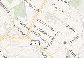 Vrchlického v obci Tišnov - mapa ulice