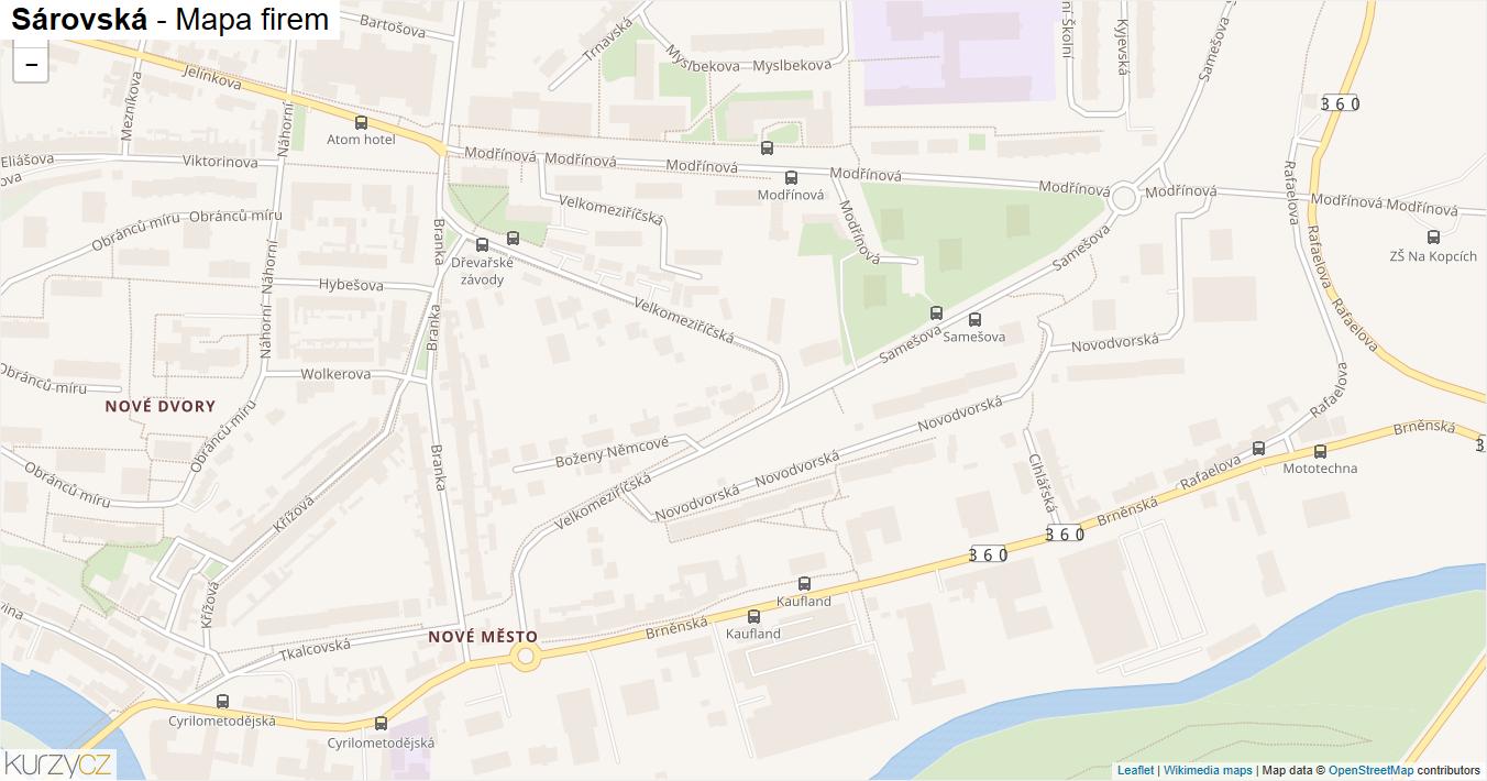 Sárovská - mapa firem