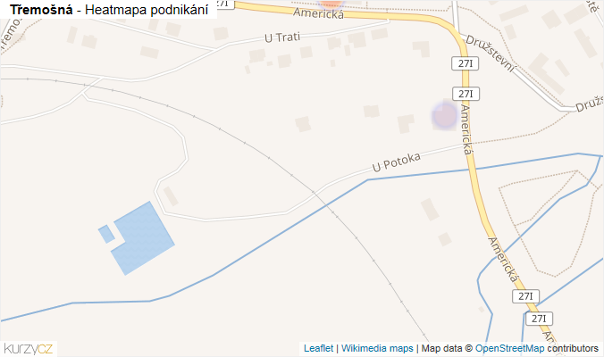 Mapa Třemošná - Firmy v obci.