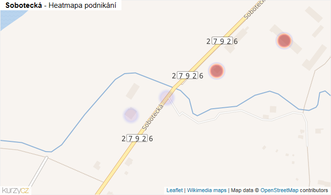 Mapa Sobotecká - Firmy v ulici.