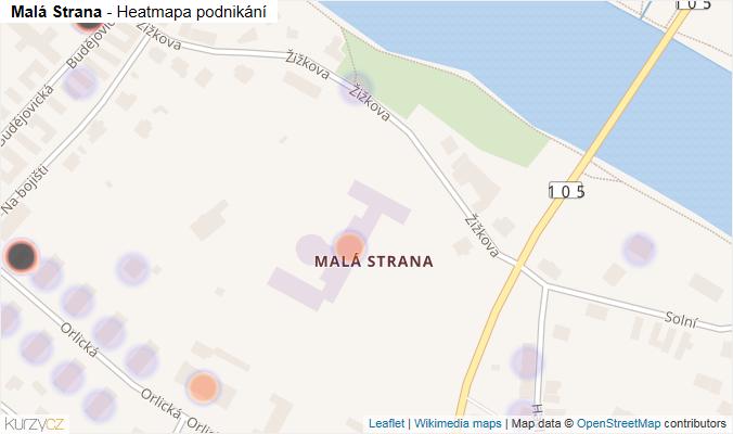 Mapa Malá Strana - Firmy v části obce.