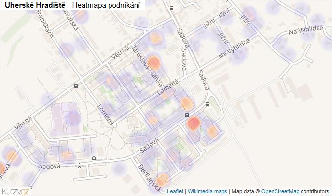 Mapa Uherské Hradiště - Firmy v obci.