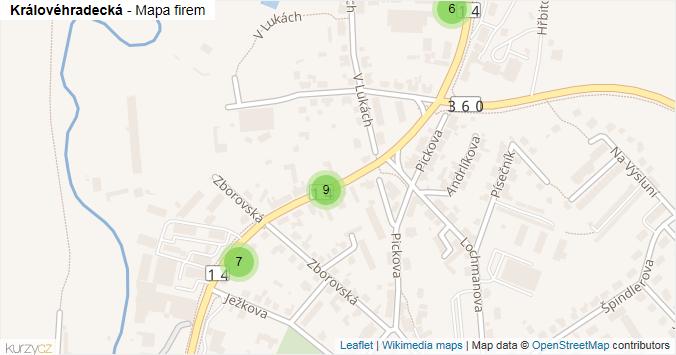 Mapa Královéhradecká - Firmy v ulici.