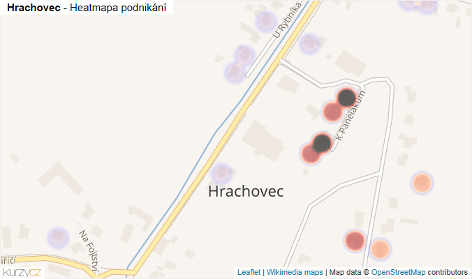 Mapa Hrachovec - Firmy v části obce.