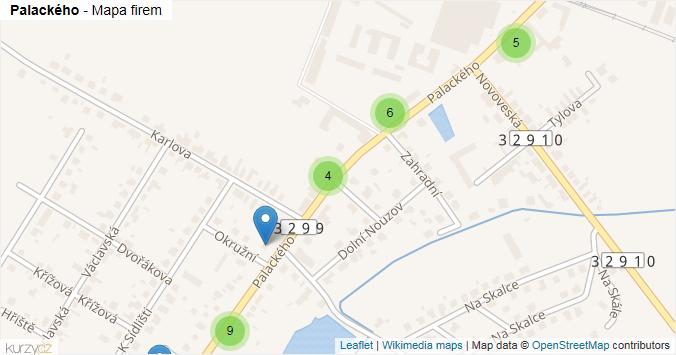 Mapa Palackého - Firmy v ulici.