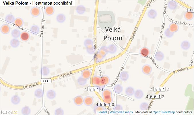 Mapa Velká Polom - Firmy v části obce.