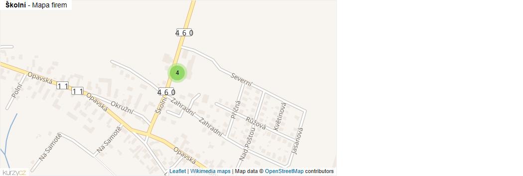 Mapa Školní - Firmy v ulici.