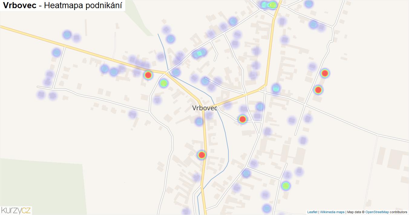 Vrbovec - mapa podnikání