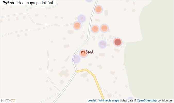 Mapa Pyšná - Firmy v části obce.