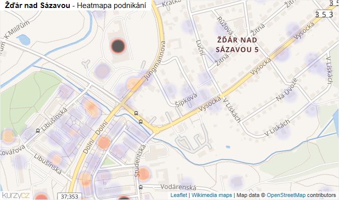 Mapa Žďár nad Sázavou - Firmy v obci.