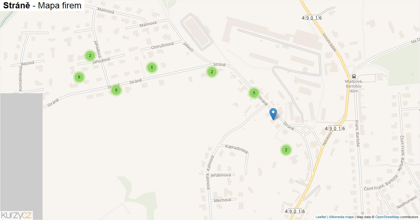 Stráně - mapa firem